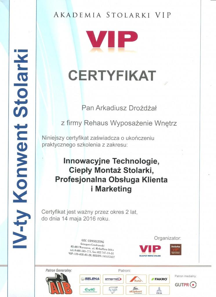 Certyfikat Konwent Stolarki VIP